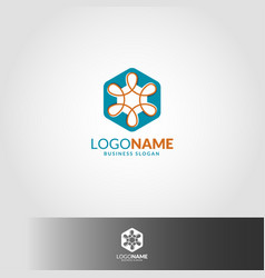 infinity hexagon logo template vector image