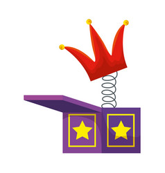 jester hat in surprise box fools day icon vector image