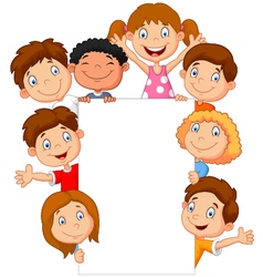 kids with blank sign vector image