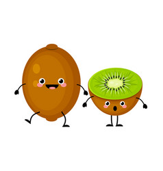 kiwi fruit characters isolated on white vector image