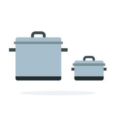 large and small metal pots flat isolated vector image