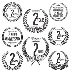 Laurel wreaths anniversary collection 2 years vector