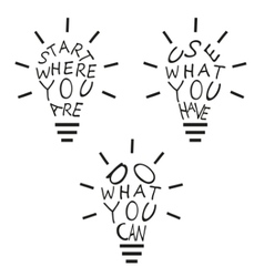 Light bulbs from quotes vector