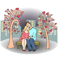 Loving couple of people on park bench vector image