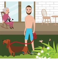 Man playing with dog shirt while old woman sitting vector