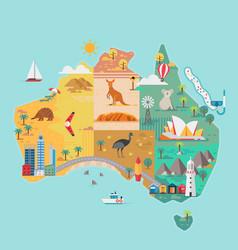 map australia colorful landmarks vector image