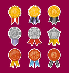 medals collection with ribbons isolated set vector image