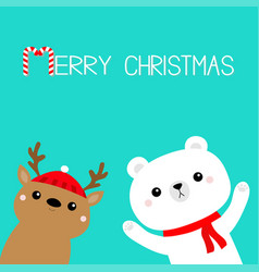 merry christmas white polar bear in red scarf vector image