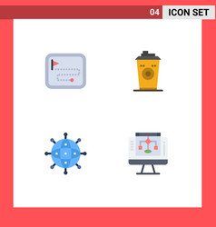 Mobile interface flat icon set 4 pictograms of vector