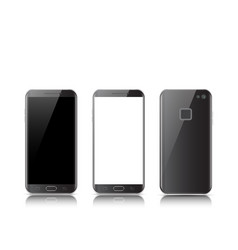 Modern black touchscreen cellphone tablet vector