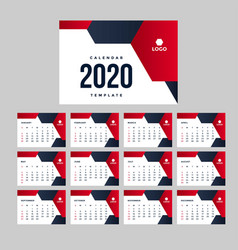 modern red calendar 2020 background template vector image