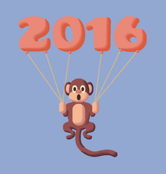 monkey dotted symbol 2016 with balloons rose vector image