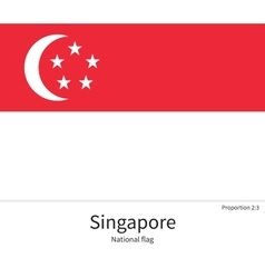 National flag of Singapore with correct vector