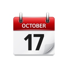 October 17 flat daily calendar icon Date vector