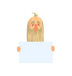 old man with long beard with blank paper in hands vector image