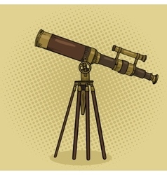 Old telescope pop art style vector