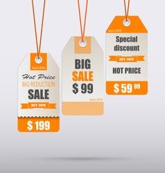 Orange vintage tag for sale template vector image vector image