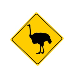Ostrich warning sign vector image