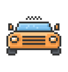 outlined pixel icon taxi fully editable vector image