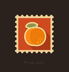 Peach flat stamp fruit vector