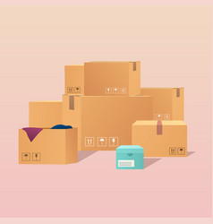 Pile stacked sealed goods cardboard boxes flat vector