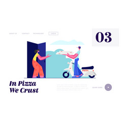 pizza delivery service courier bringing order vector image