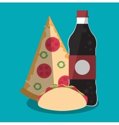 Pizza taco and soda of fast food concept vector