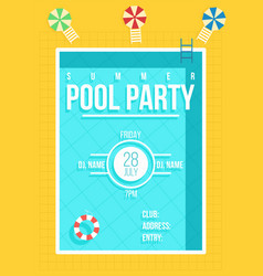 Pool party poster summer party invitation flyer vector