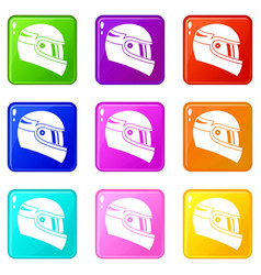 Racing helmet set 9 vector