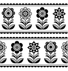 scandinavian seamless folk art pattern vector image