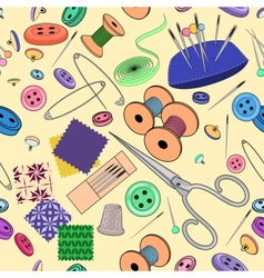 Seamless pattern with sewing stuff vector