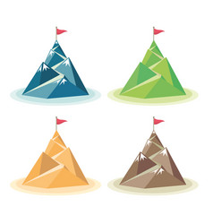 set flag on mountain peak vector image