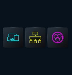 Set line monitor mobile tablet rgb and cmyk vector