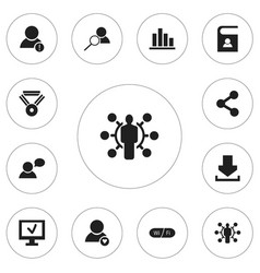 Set of 12 editable global icons includes symbols vector