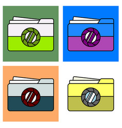 Set of flat pictures folder icon vector