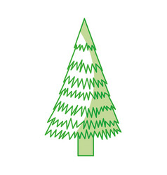 shadow christmas tree cartoon vector image
