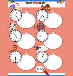 Telling time educational task with cartoon farm vector