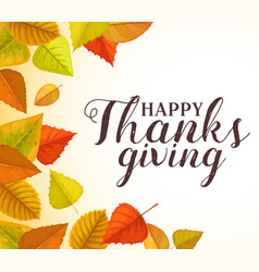 thanks giving greeting card with autumn leaves vector image