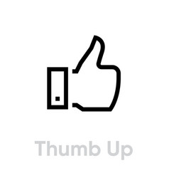 thumb up icon editable stroke vector image