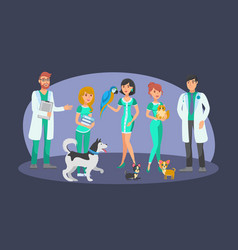 veterinary staff flat color characters vector image
