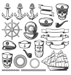 vintage sailor naval icon set vector image