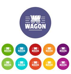 wagon icons set color vector image