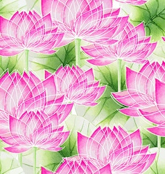 Watercolor Seamless floral pattern with lotus vector
