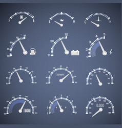 White speedometer interface icon set vector
