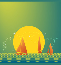yachts on beautiful place at sunset vector image