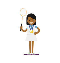 Young black woman tennis player with racket vector
