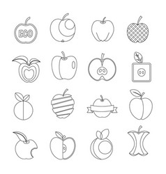apple icons set design logo outline style vector image