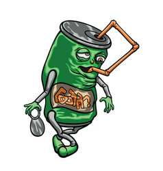 cartoon beverage can with a straw vector image vector image