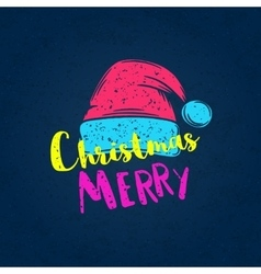 Christmas poster with a cap of Santa Claus vector image
