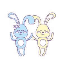 Cute animal couple rabbit together vector
